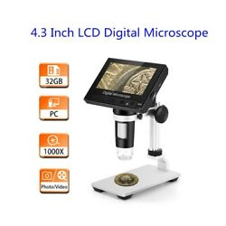 4.3 Inch 1080p Digital Microscope 1000x Magnification Amplification W/ Holder