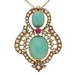 Antique Victorian 18k Yellow Gold Pendant W/ Turquoise, Ruby, Pearl And 14k Chain