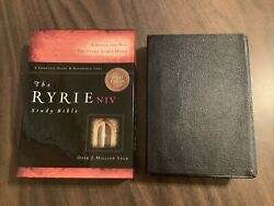 Niv 1984 Ryrie Study Bible - Black Genuine Leather - Out Of Print 84