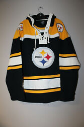 New Nfl Pittsburgh Steelers Old Time Style Midweight Cotton Hoodie Men's Xl