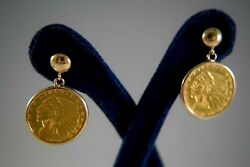 1913 And 1925 2.50 Indian Head 22k Solid Gold Coin Dangle Earrings