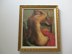 Antique Vintage Oil Painting Listed Impressionist American Pretty Female Nude
