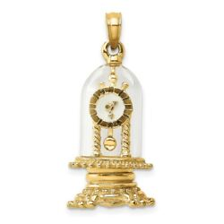 14k Gold W/ Enamel 3-d Moveable Clock In Glass Dome Charm L- 21.5mm, W-13.35mm