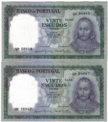 Portugal 2 X 20 Escudos 1960 Pick 163 Running Numbers Aunc