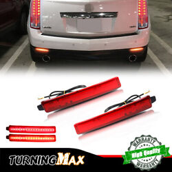 2pcs Red Lens Rear Bumper Turn Signal Brake Tail Led Lamps For Gmc Acadia And Srx