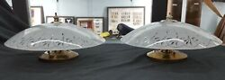 Pair Of Mid Century Modern Flush Mount Frosted Leaf Design Ceiling Fixtures