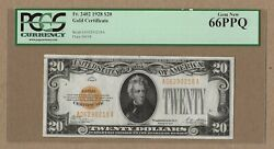 Fr 2402 20 1928 Gold Certificate Pcgs Currency Gem Uncirculated 66 Ppq
