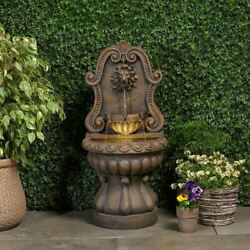 Lighted Outdoor Water Fountain 2 Tier Lion Head Faux Stone Resin Led Waterfall