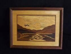 Hudson River Inlay Marquetry Art Signed Nelson 10x13 Mountains Sun And Birds Exc