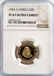 1983 Gold South Africa 2 Rand Van Riebeeck Coin Ngc Proof 67 Ultra Cameo