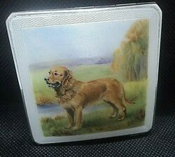 Super Stg Silver And Enamel Compact H/m 1953 Crisford And Norris - Golden Retriever