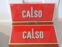 """Vintage Pair Of Nos """"calso"""" Gas Station Pump Glass Signs"""