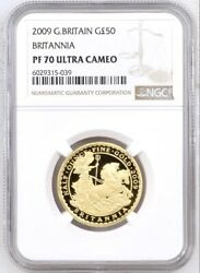 2009 Gold Proof Britannia Chariot £50 1/2 Ounce, Oz. Ngc Pf70 Ultra Cameo