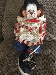 Antique Sitting Clown Doll With Big Ears And Hair Approximately 10 Rare Item