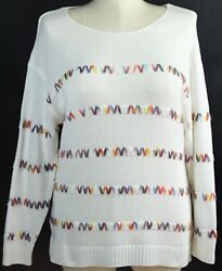 Christopher And Banks Sweater Size - X - 1x - 3x - White Colorful Knit Pullover Cj