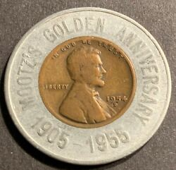 Encased Mootzand039s Golden Anniversary 1954-d Lincoln Wheat Cent Sunbeam Bread