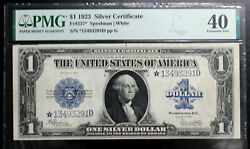 1923 Silver Certificate 1 One Dollar Bill Pmg 40 Extremely Fine Fr 237 Star