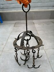 Antique 19th Hand Forged Wrought Iron Hook Hanger For Fireplace With 5 Hooks