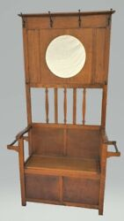 Vintage Arts And Crafts / Mission Tiger Oak Hall Tree Seat Stand And Mirror 1910's