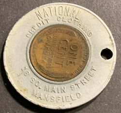 Encased National Credit Clothing 1951-d Lincoln Wheat Cent Luckandnbsp Mansfield Ohio