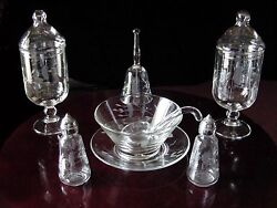 Lotvintage Etched Glass Mayonnaise Bowl Set Salt Pepper Shakers Candy Jars Bell