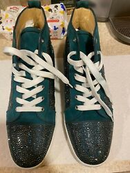 Menand039s Christian Louboutin Louis Orlato Aqua W/ Crystals Size 45 Worn Once