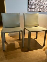 Cassina Cab Chair 412, Set Of 2, Beige Leather, By Mario Bellini, Original Italy