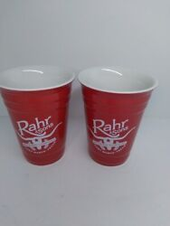 Rahr And Sons Brewing Company 12 Oz Beer Glasses Hello My Name Is/ Stoneware Red