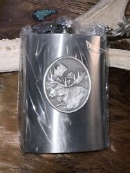 Pewter Flask, Bull Moose, Wildlife Themed, 8 Ounces, Stainless Steel, Pewter