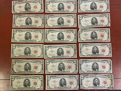 Lot Of 18 5 Red Seal United States Notes-circulated 1-1953 / 17-1963
