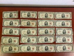 Lot Of 20 3-1953, 17-1963 5 Red Seal United States Notes-circulated