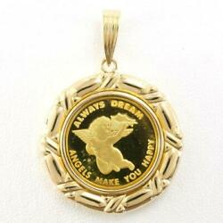 Pamp Angel Coin 24k Yellow Gold 18k Pendant Top About6.8g Free Shipping Used