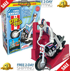 Wind Up And Go Extreme Evel Knievel Stunt Cycle Toy Kids Motorcycle Bike Jump
