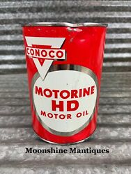 Full 1950's Conoco Motorine Hd Motor Oil Can 1 Qt. - Gas And Oil