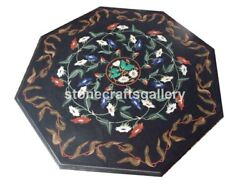 36 Black Marble Dining Table Top Lapis Carnelian Floral Inlay Living Décor B018