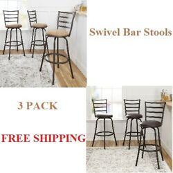 3 Pack Swivel Bar Stools Adjustable Kitchen Counter Dining Comfort Chair