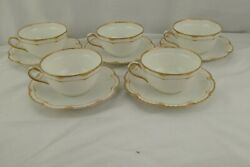 Haviland Limoges Schleiger 213 Double Gold Set 6 Cups And Saucers