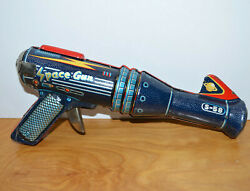 Vintage Japanese Tin Litho S-58 Space Gun Battery Operated Working 1960s