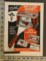 1950 Toy Ad Hopalong Cassidy Auto Magic Theatre Picture Gun Middleton Connti51
