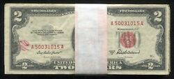 Lot Of 100 1953/1963 2 Red Seal Legal Tender United States Notes Lower Grade