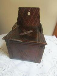 Antique Early 18c Provincial Rustic Wooden Candle Box Chip Carved