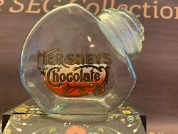 Hershey's Glass Canister Jar Chocolate Emblem Candy Vintage Euc Great Seal