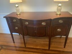 Baker Furniture Hepplewhite Mahogany Bow Front Sideboard Credenza