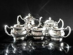Antique Edwardian Queen Anne Style Silver Plate Tea Set Coffee Service Reed And