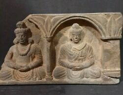 Rare And Beautiful Near Eastern Gandhara Stone Plaque Of Seated Buddhas
