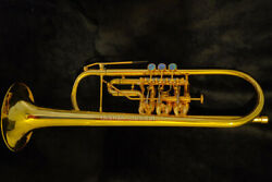 Professional Bb Key Rotary Piston Trumpet Handmade Gold Plated Horn Leather Case