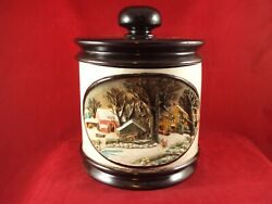 Vintage Hershey Molds 1979 Cookie Jar / Canister, 3d Winter Scene Lao Dutchess