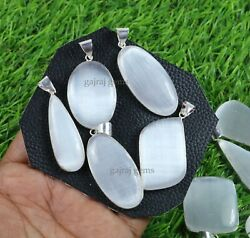 10 Pieces Natural White Selenite Gemstone 925 Solid Silver Bezel Pendant Jewelry