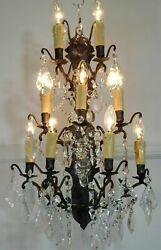Magnificent Vintage French 9 Light Brass And Crystal Wall Light/sconce 3 Availa