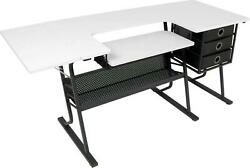 Sewing Table With 3 Fabric Drawer Storage Craft Computer Desk Black / White